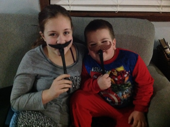 mustache and kids